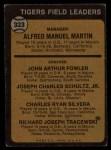 1973 Topps #323   -  Billy Martin / Art Fowler / Joe Schultz / Charlie Silvera / Dick Tracewski Tigers Leaders Back Thumbnail
