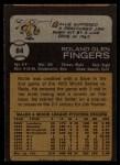 1973 Topps #84  Rollie Fingers  Back Thumbnail