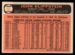 1966 Topps #493  Johnny Klippstein  Back Thumbnail