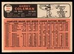 1966 Topps #494  Gordy Coleman  Back Thumbnail