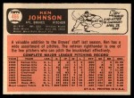 1966 Topps #466  Ken Johnson  Back Thumbnail