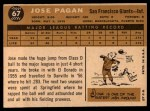 1960 Topps #67  Jose Pagan  Back Thumbnail