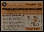 1960 Topps #195  Lindy McDaniel  Back Thumbnail