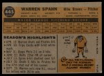 1960 Topps #445  Warren Spahn  Back Thumbnail