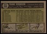1961 Topps #360  Frank Robinson  Back Thumbnail