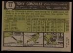 1961 Topps #93  Tony Gonzalez  Back Thumbnail