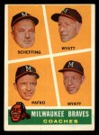 1960 Topps #464   -  Bob Scheffing / Whitlow Wyatt / Andy Pafko / George Myatt Braves Coaches Front Thumbnail