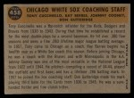1960 Topps #458   -  Johnny Cooney / Don Gutteridge / Tony Cuccinello / Ray Berres White Sox Coaches Back Thumbnail