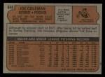 1972 Topps #640  Joe Coleman  Back Thumbnail