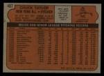 1972 Topps #407  Chuck Taylor  Back Thumbnail