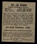 1949 Leaf #22  Al Evans  Back Thumbnail