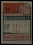 1975 Topps #144  Jim Wohlford  Back Thumbnail