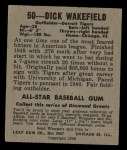 1949 Leaf #50  Dick Wakefield  Back Thumbnail