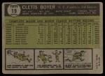 1961 Topps #19  Clete Boyer  Back Thumbnail