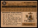 1960 Topps #96  Ralph Terry  Back Thumbnail