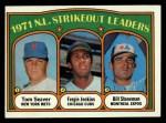1972 Topps #95   -  Fergie Jenkins / Tom Seaver / Bil Stoneman NL Strikeout Leaders   Front Thumbnail