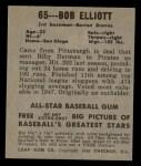 1949 Leaf #65  Bob Elliott  Back Thumbnail