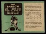 1970 Topps #45  Bob Barlow  Back Thumbnail