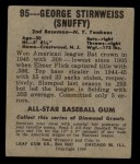 1949 Leaf #95  George Stirnweiss  Back Thumbnail
