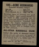 1949 Leaf #102 COR Gene Hermanski  Back Thumbnail