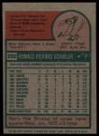 1975 Topps #292  Ron Schueler  Back Thumbnail