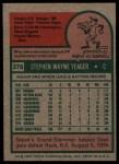 1975 Topps #376  Steve Yeager  Back Thumbnail