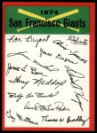 1974 Topps Red Checklist   Giants Front Thumbnail