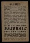 1952 Bowman #80  Gil Hodges  Back Thumbnail
