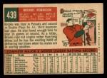 1959 Topps #439  Brooks Robinson  Back Thumbnail