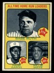 1973 Topps #1   -  Hank Aaron / Babe Ruth / Willie Mays All Time HR Leaders Front Thumbnail