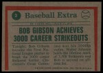 1975 Topps #3   -  Bob Gibson Gibson Throws 3000th Strikeout Back Thumbnail