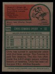 1975 Topps #505  Chris Speier  Back Thumbnail