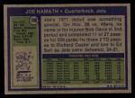 1972 Topps #100  Joe Namath  Back Thumbnail