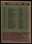 1976 Topps #504   -  Danny Murtaugh Pirates Team Checklist Back Thumbnail