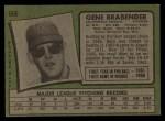 1971 Topps #666  Gene Brabender  Back Thumbnail