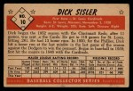 1953 Bowman Black and White #10  Dick Sisler  Back Thumbnail