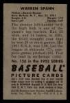 1952 Bowman #156  Warren Spahn  Back Thumbnail