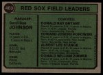 1974 Topps #403   -  Darrell Johnson / Don Bryant / Eddie Popowski / Lee Stange / Don Zimmer Red Sox Leaders   Back Thumbnail