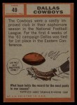 1962 Topps #49   Cowboys Team Back Thumbnail