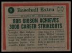 1975 Topps #3   -  Bob Gibson Gibson Throws 3000th Strikeout Back Thumbnail