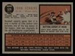 1962 Topps #529  John Schaive  Back Thumbnail