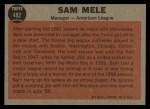 1962 Topps #482  Sam Mele  Back Thumbnail