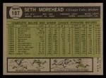 1961 Topps #107 CUT Seth Morehead  Back Thumbnail