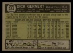 1961 Topps #284  Dick Gernert  Back Thumbnail