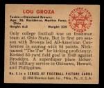 1950 Bowman #6  Lou Groza  Back Thumbnail