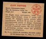 1950 Bowman #24  Cliff Patton  Back Thumbnail