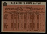 1962 Topps #132 A  Angels Team Back Thumbnail