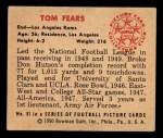 1950 Bowman #51  Tom Fears  Back Thumbnail
