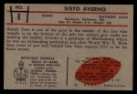 1953 Bowman #8  Sisto Averno  Back Thumbnail