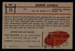1953 Bowman #15  Dante Lavelli  Back Thumbnail